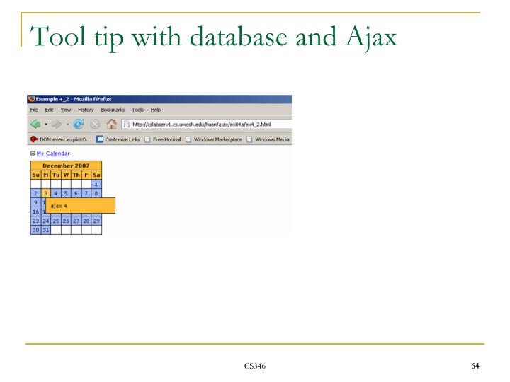 Tool tip with database and Ajax