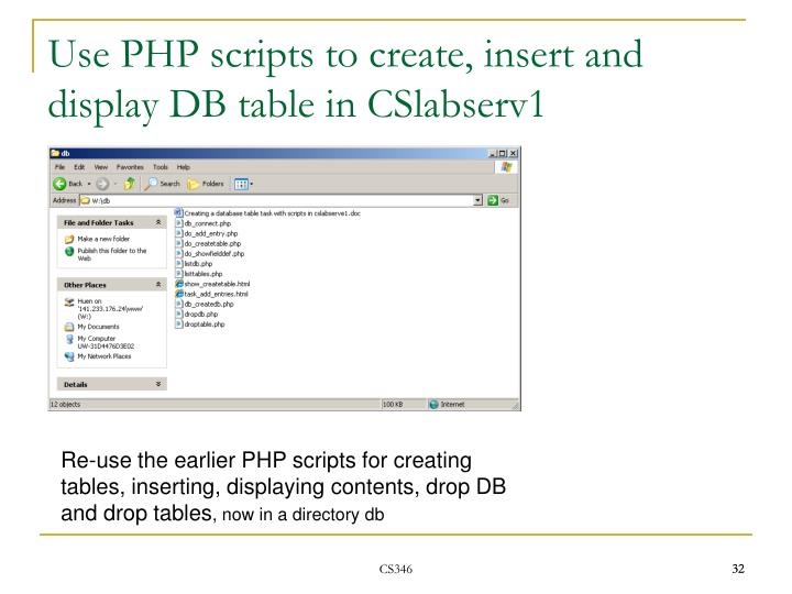 Use PHP scripts to create, insert and display DB table in CSlabserv1