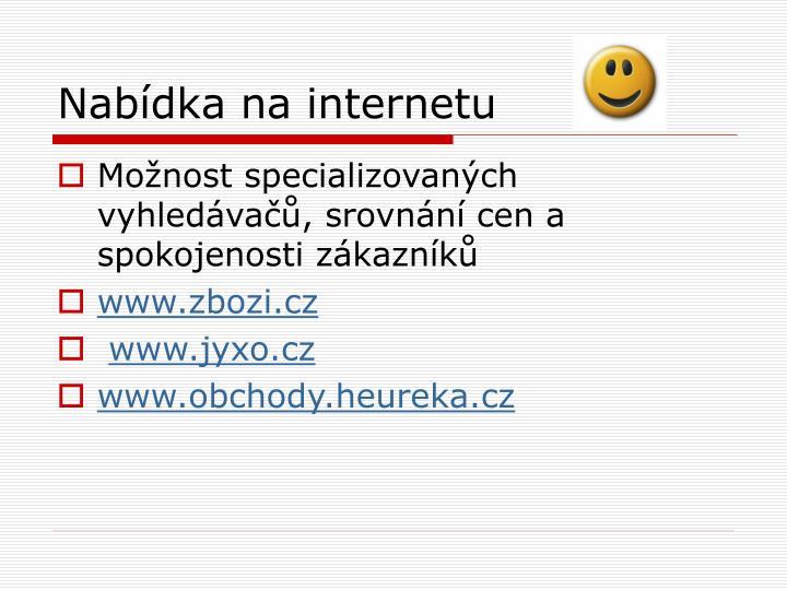 Nabídka na internetu