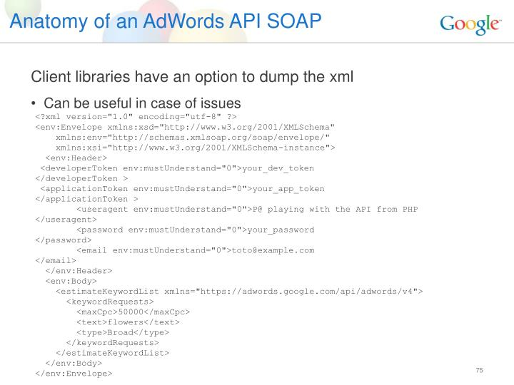Anatomy of an AdWords API SOAP