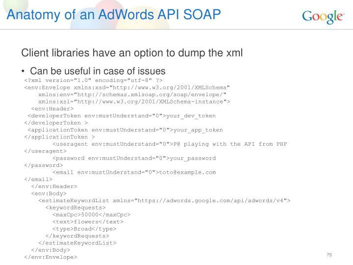 Anatomy of an AdWords API SOAP
