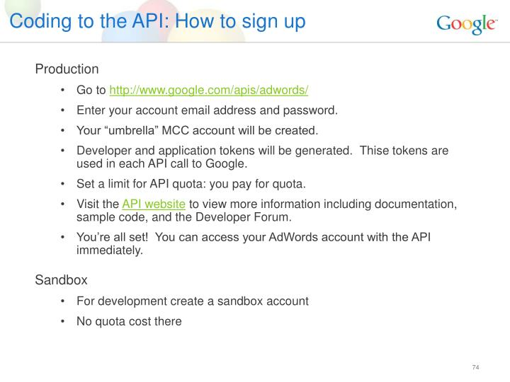 Coding to the API: How to sign up