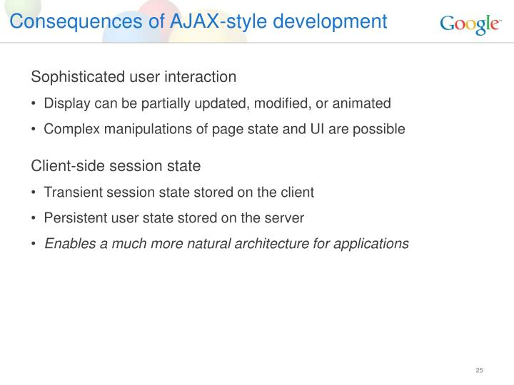 Consequences of AJAX-style development