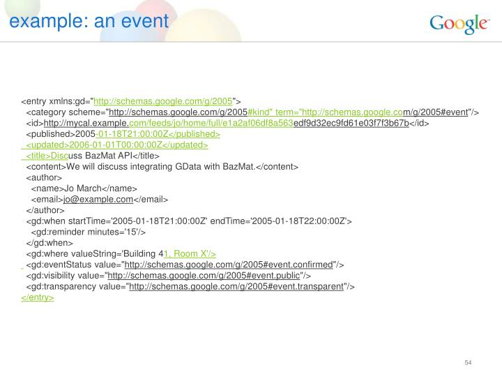 example: an event