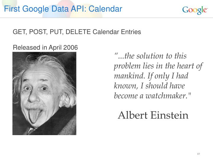 First Google Data API: Calendar