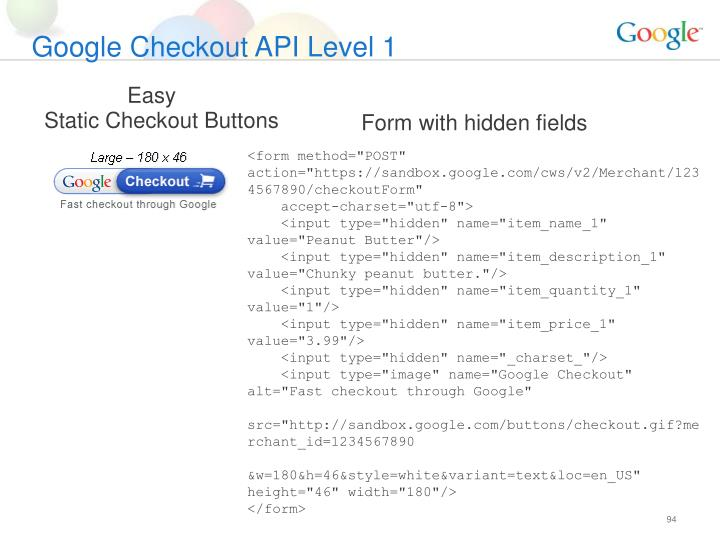 Google Checkout API Level 1