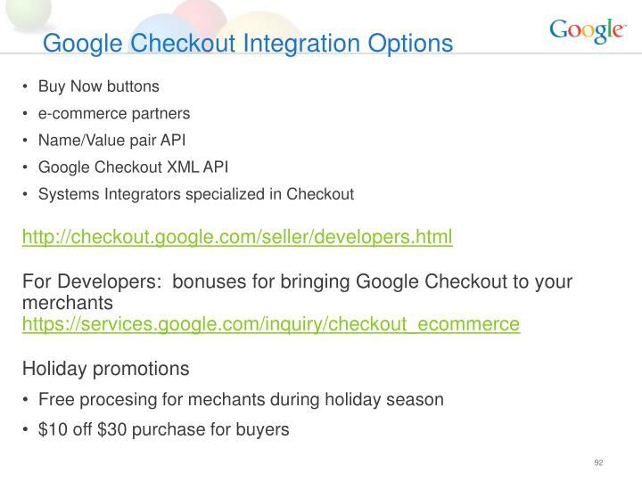 Google Checkout Integration Options