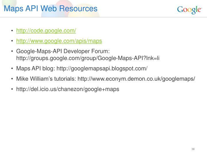 Maps API Web Resources