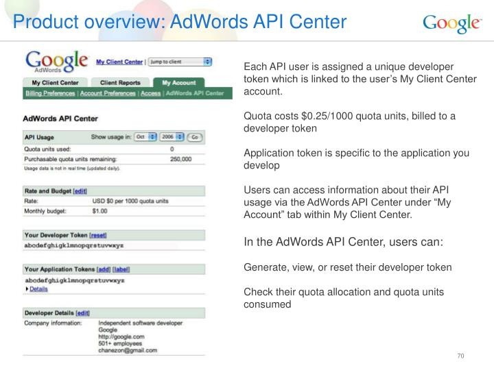 Product overview: AdWords API Center