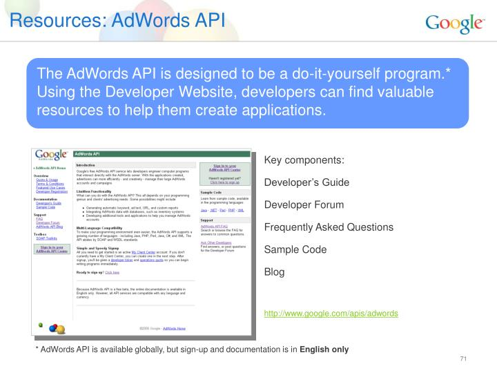 Resources: AdWords API