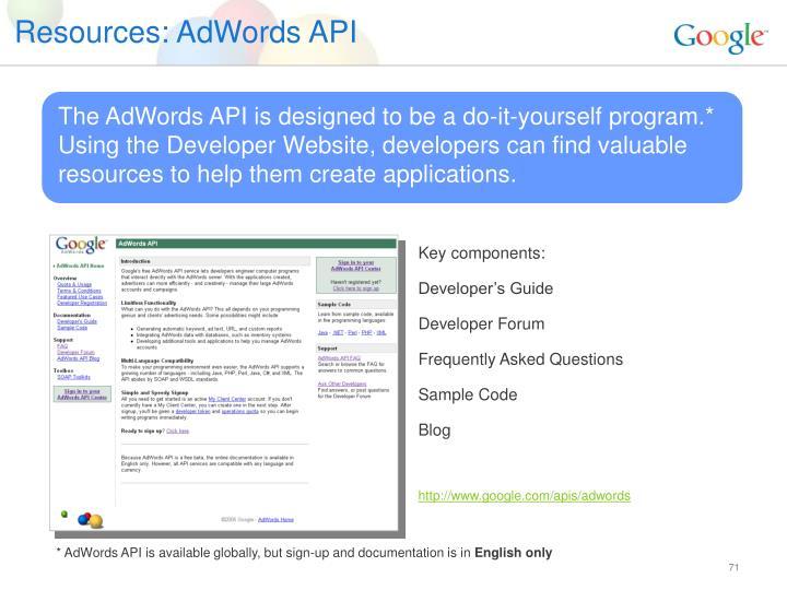 Resources: AdWords API