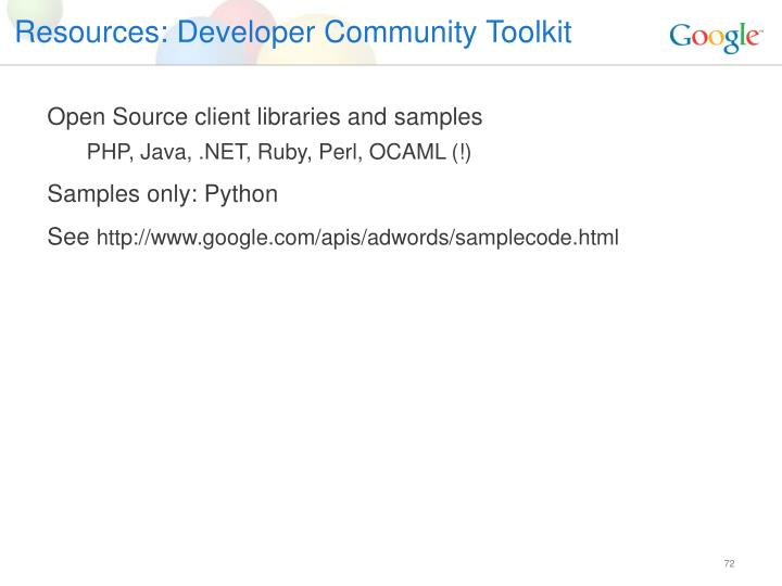 Resources: Developer Community Toolkit