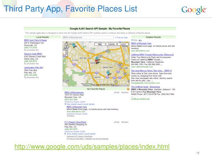 Third Party App, Favorite Places List