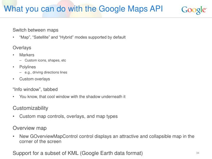 What you can do with the Google Maps API