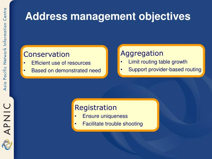 Address management objectives