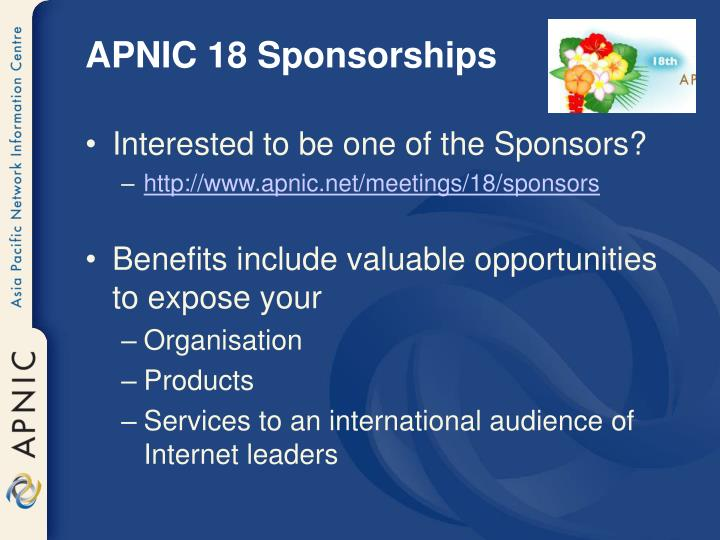 APNIC 18 Sponsorships