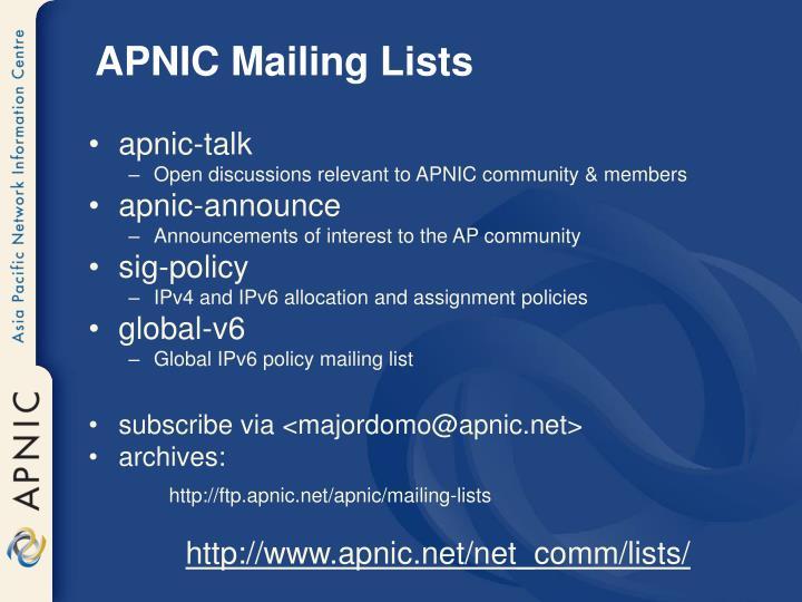 APNIC Mailing Lists