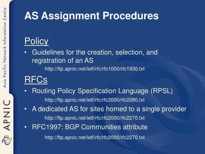 AS Assignment Procedures