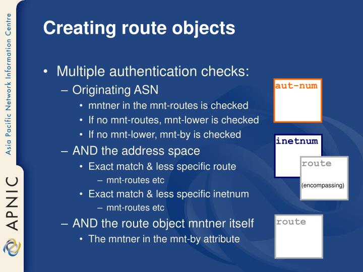 Creating route objects