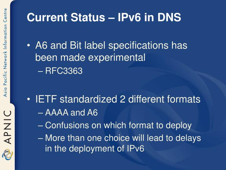 Current Status – IPv6 in DNS
