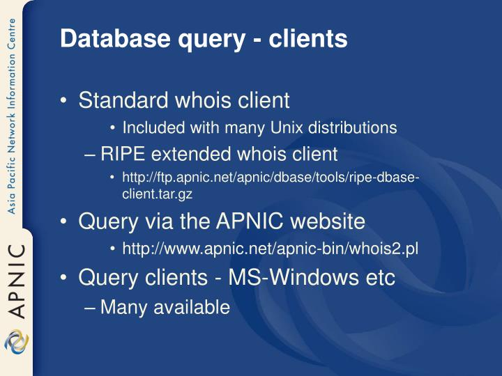 Database query - clients
