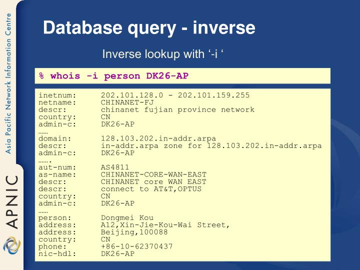 Database query - inverse