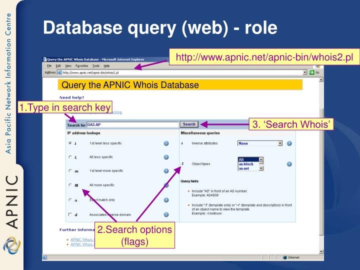 Database query (web) - role