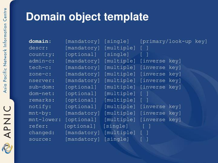 Domain object template