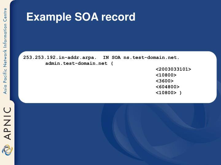 Example SOA record