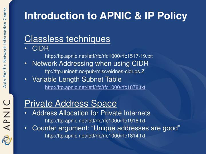 Introduction to APNIC & IP Policy