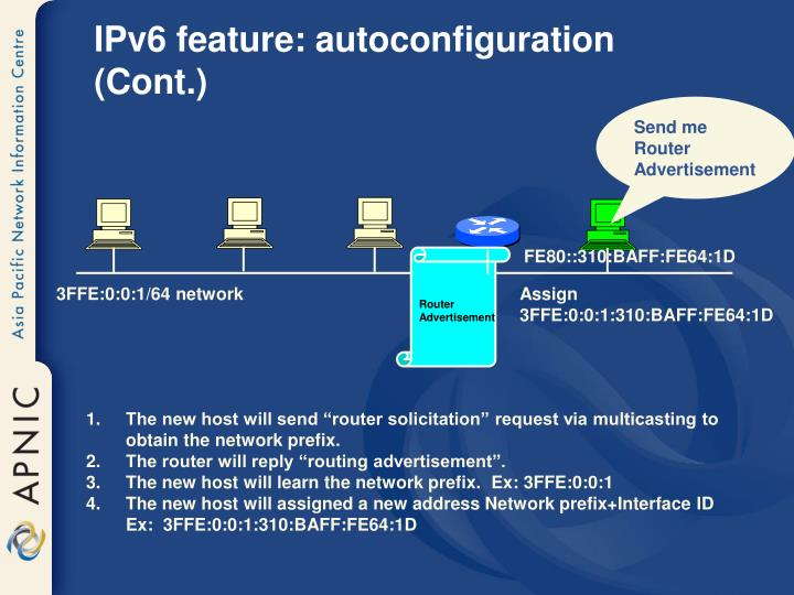 IPv6 feature: autoconfiguration (Cont.)