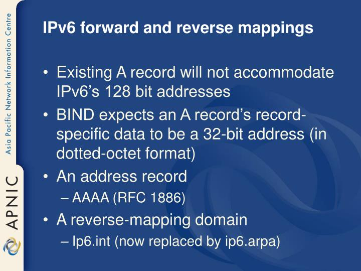 IPv6 forward and reverse mappings