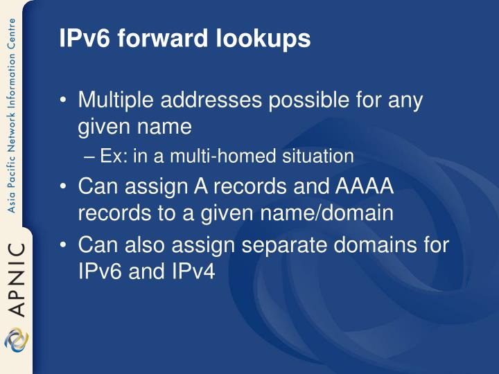 IPv6 forward lookups