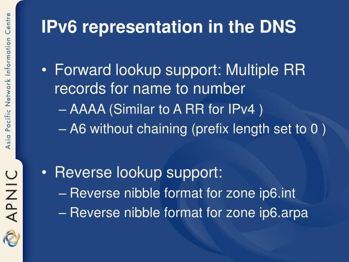 IPv6 representation in the DNS
