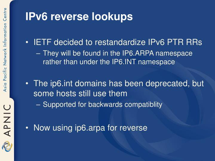 IPv6 reverse lookups