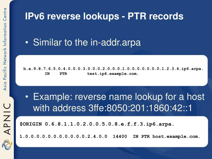 IPv6 reverse lookups - PTR records