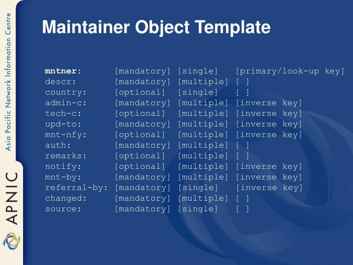 Maintainer Object Template