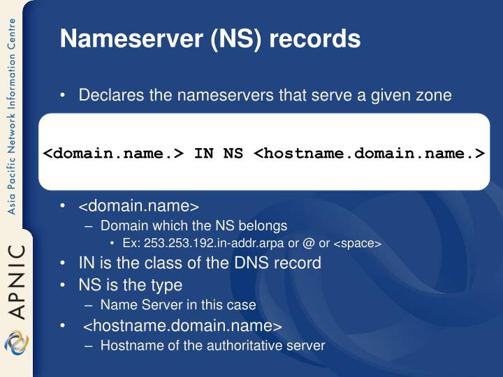 Nameserver (NS) records