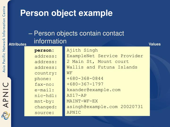 Person object example