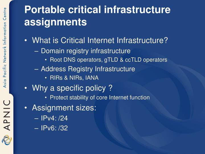 Portable critical infrastructure assignments