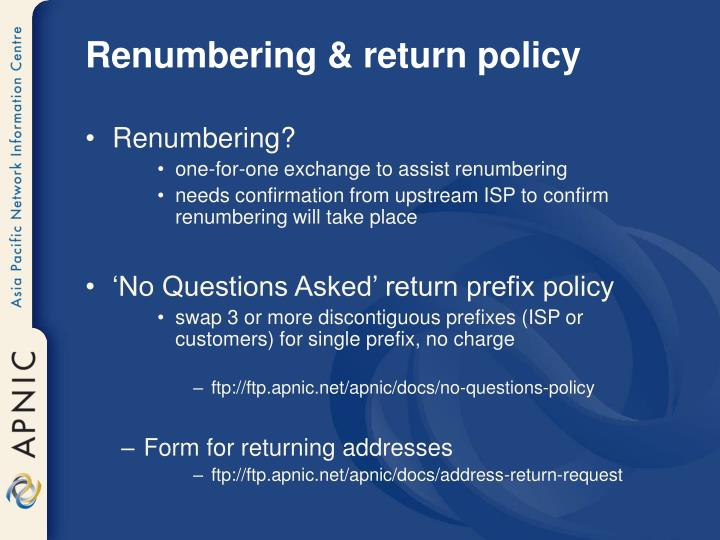 Renumbering & return policy
