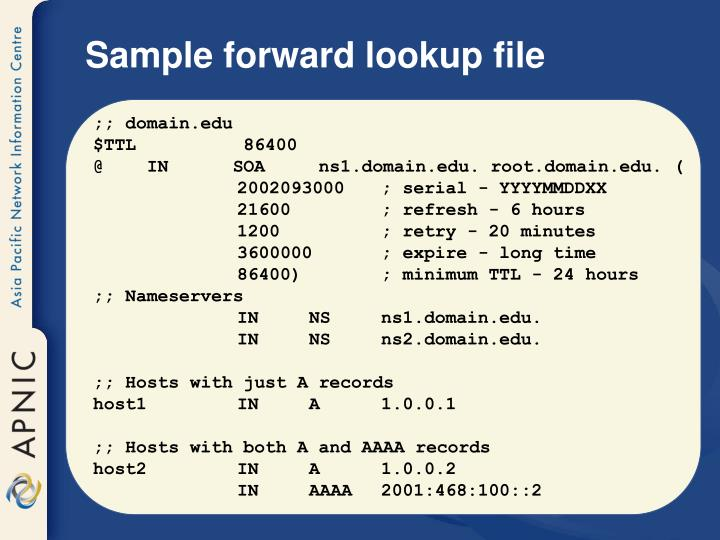 Sample forward lookup file