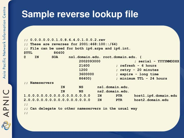 Sample reverse lookup file