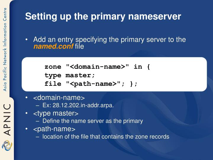 Setting up the primary nameserver