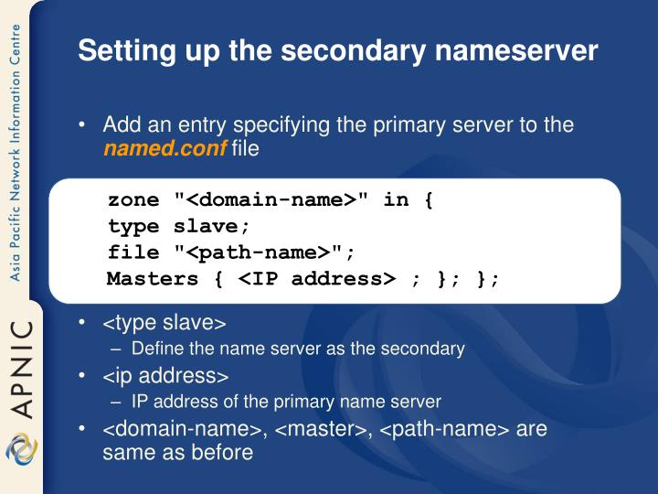 Setting up the secondary nameserver