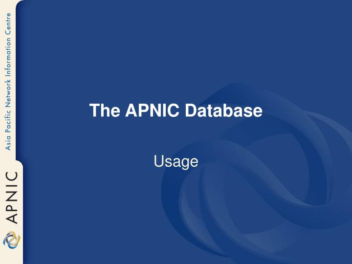 The APNIC Database
