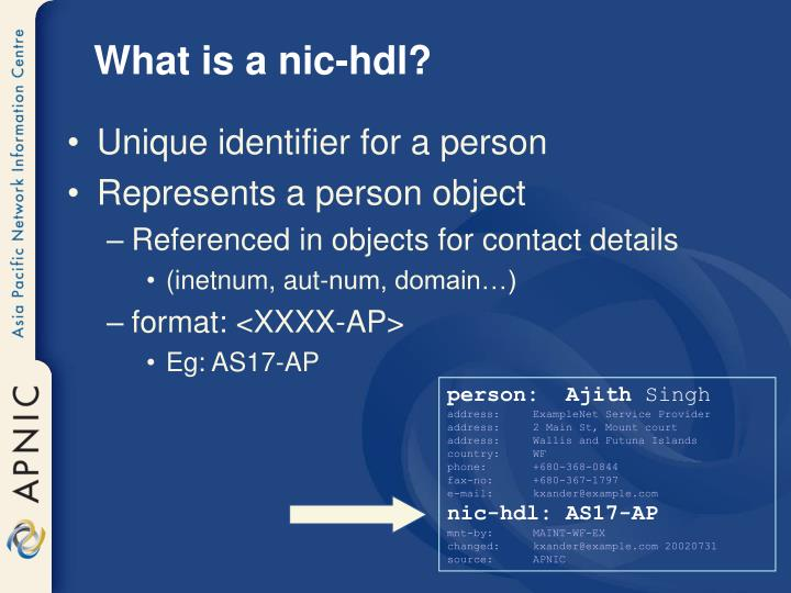 What is a nic-hdl?
