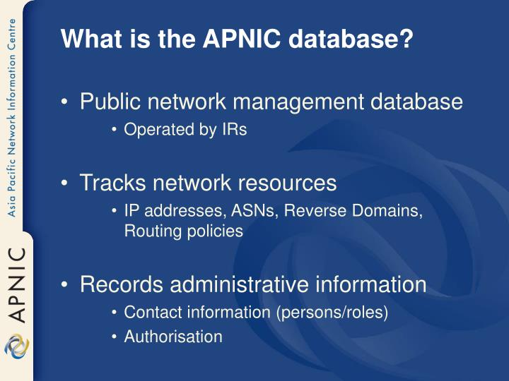 What is the APNIC database?