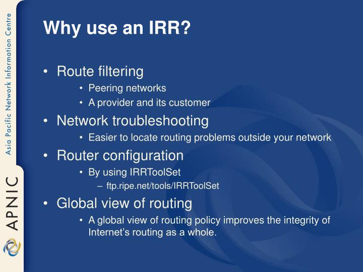 Why use an IRR?