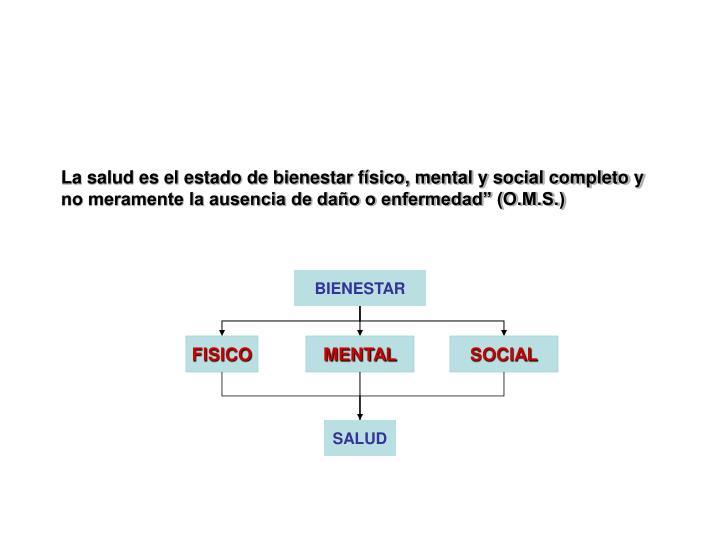 """La salud es el estado de bienestar físico, mental y social completo y no meramente la ausencia de daño o enfermedad"""" (O.M.S.)"""